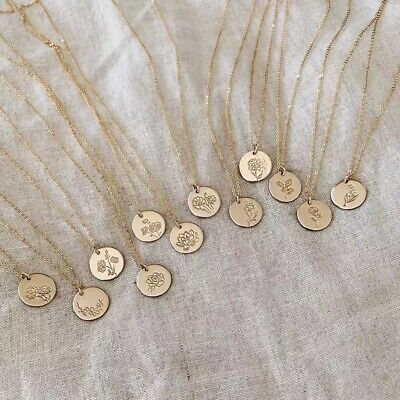 Birth Month Flower Disc Circle Dainty Coin Pendant Necklace Birthday Gift N23 Disc Pendant Necklace