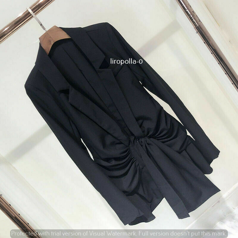 Black night out deep v puffy blazer dress sexy runaway Hollywood outfit  S M L