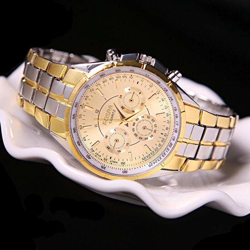 Herren 'Luxury Date' Gold Dial Edelstahl Analog Quarz Armbanduhren B xxll