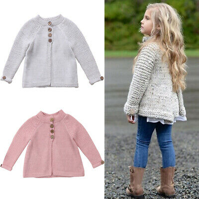 - US Kids Toddler Baby Girl Long Sleeve Warm Sweaters Knitted Cardigan Outerwear