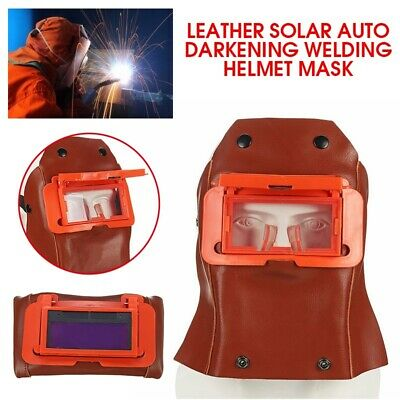 Leather Solar Auto Darkening Filter Lens Welder Welding Hood Mask Helmet