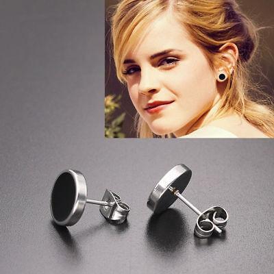 Fashion Simple Titanium steel Black Round Piercing Earring Stud Jewelry Gift