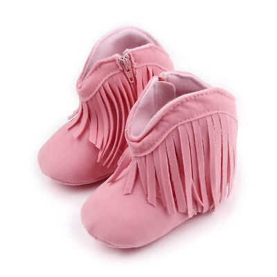 NEW Baby Girls Pink Faux Suede Fringe Cowboy Boots Crib Shoes 0-6 6-12 12-18