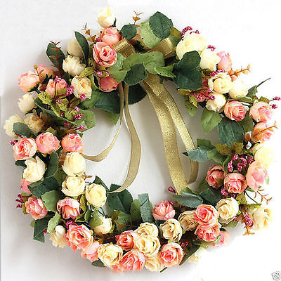 Home Decor Door or Wall Wreath USA White Magenta Pink Silk Rose Flower Floral