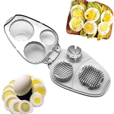 3 in 1 Stainless Steel Cutter Hard Boiled Egg Slicer Decor HOme Kitchen Tool US - Hard Boiled Egg Slicer