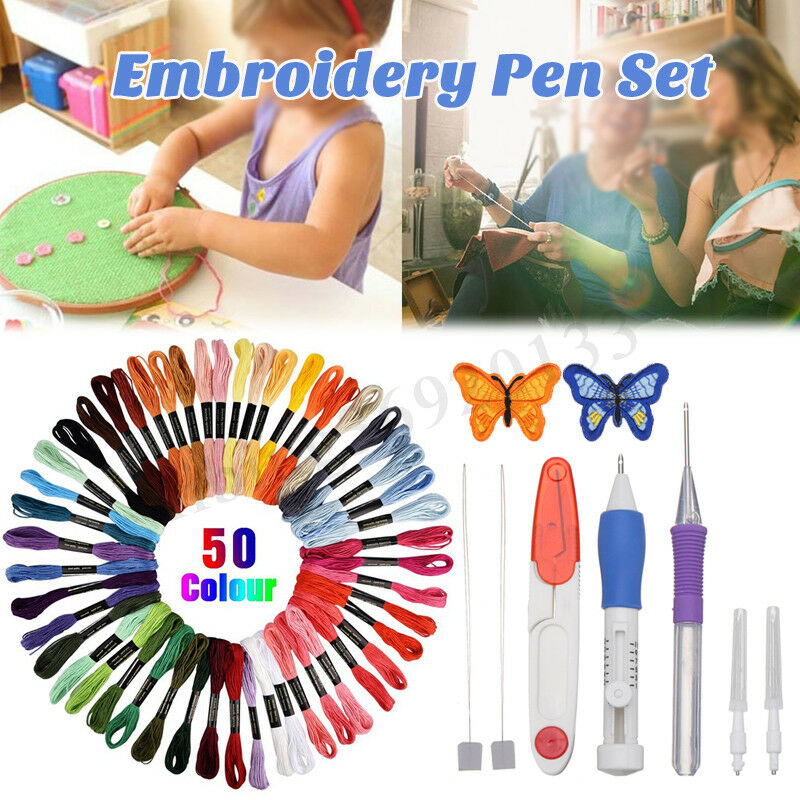 50 Color Thread Embroidery Needle Pen Kit Set Craft Punch Magic DIY