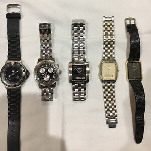 Collection of 5 Men's Watches; Tag ,Tissots,Seikos. Paid>$3,000