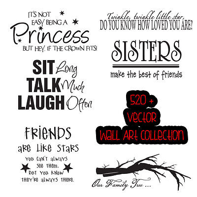 520+ Vector Wall Art Quotes Collection for Vinyl Cutters Plotters .EPS format