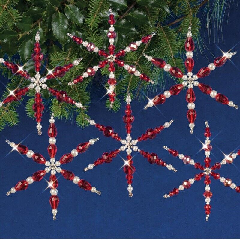 Nostalgic Christmas Beaded Crystal Ornament Kit  Ruby Snowflakes Makes 6