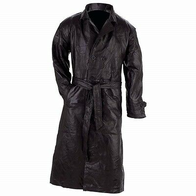 Mens Black Genuine Leather Full Length Lined TRENCH COAT Duster Long Over Jacket