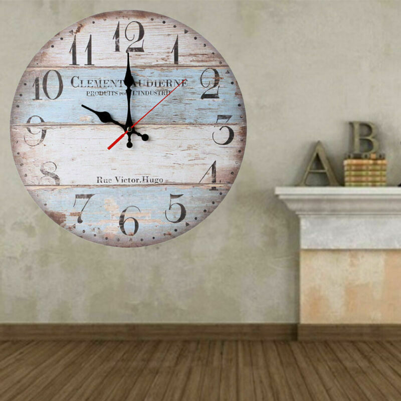 Country Theme Wood Wall Clock Look Old Vintage Hanging Shabb