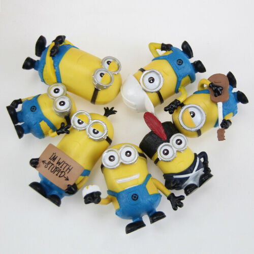 1+Set+of+7+Disney+Minions+Collection+Cake+Ornament+Figurines+Figures+Toys+4-7cm
