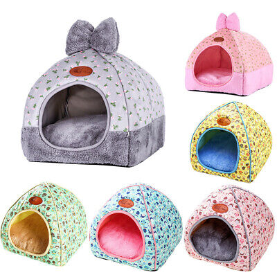 Pet Cat Dog Warm Bed Tent Triangle Foldable Kennel Cave Leopard Print House CS ()