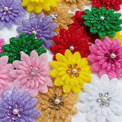 8/24/120pcs Glitter Felt Padded Flowers W Rhinestone Doll Bow Craft Appliques