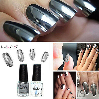 2Pcs/Set Mirror Effect Chrome Metallic Silver Nail Art Varnish Polish &Base Coat