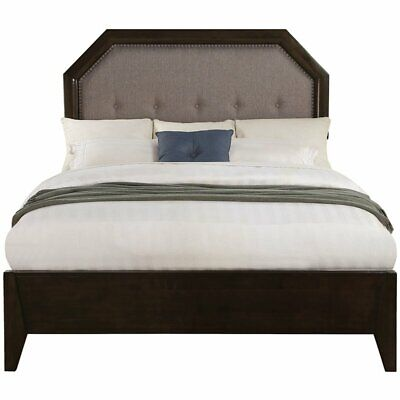 ACME Selma Tufted King Panel Bed in Tobacco and Gray