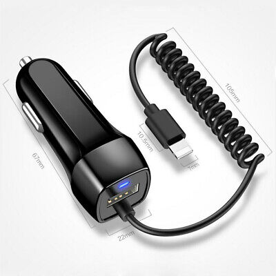 2A In Car Charger For iPhone 11 Pro Max X XS XR 6 7 8 Lightning Fast Charging