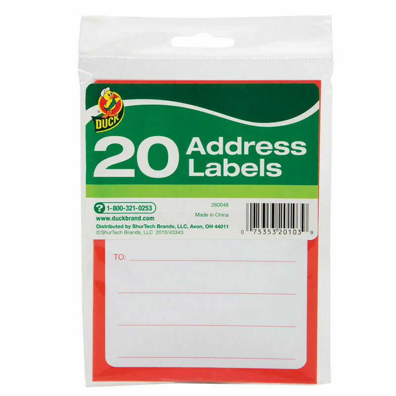 Duck Brand 3-1/2 in. W x 4-1/2 L Address Labels Pack of 20 Labels Address & Shipping Labels