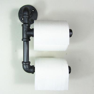(US) Doppel Toilettenpapier Roller Halter Eisen Industrie Rohr Urban Stil Rustik