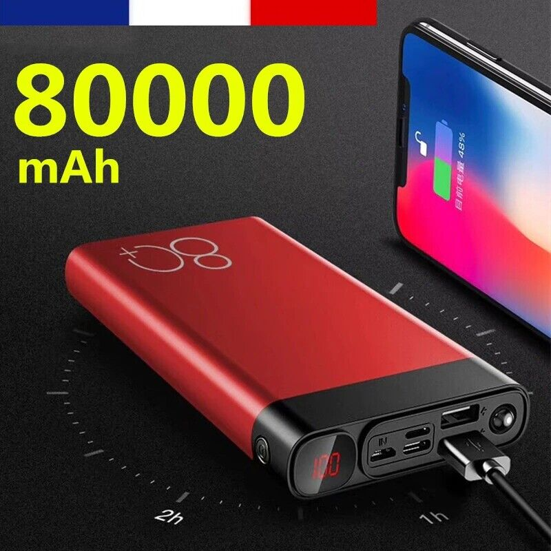Batterie Portable Externe Secours Powerbank 80000 mAh Double USB + Lampe LED