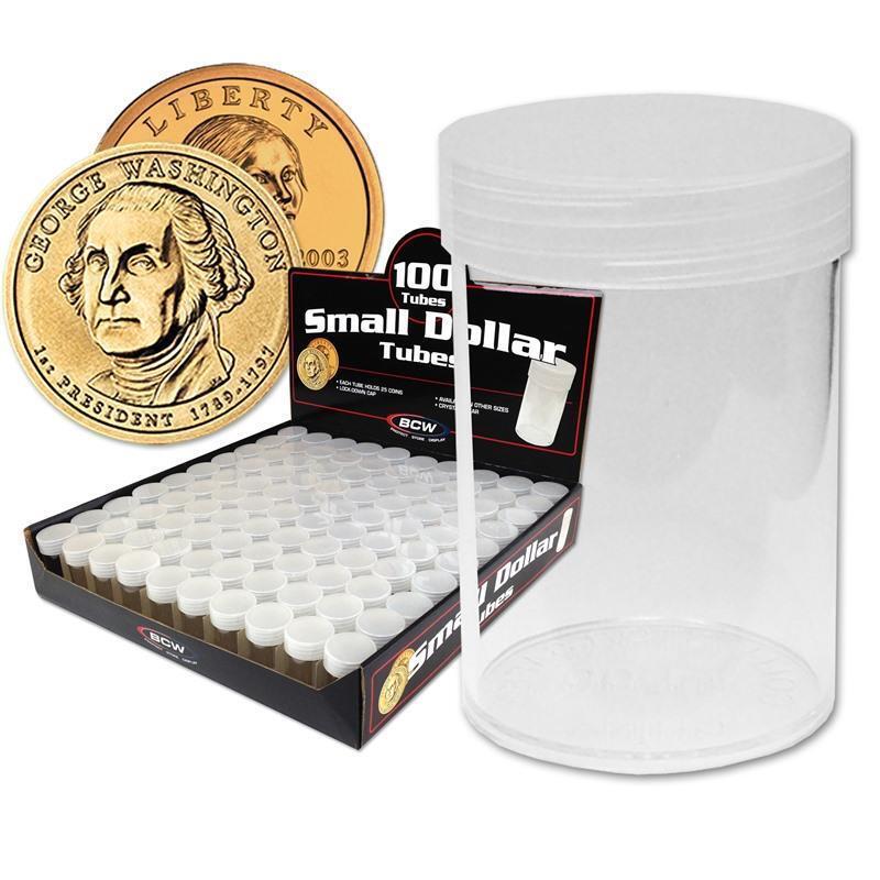 5 loose BCW Brand Half Dollar Storage Round Coin Tubes Holders