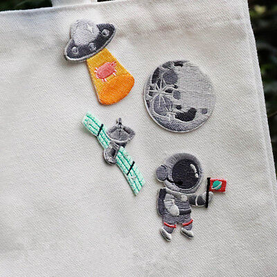 Space Astronaut UFO Embroidered Sew On Iron On Patch Badge Fabric DIY - Space Crafts