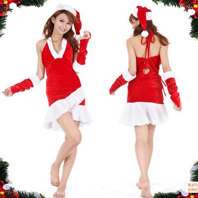Weihnachtskostüm Weihnachtsmann Kostüm Weihnachtsfrau Weihnachten Sexy Kleid M94