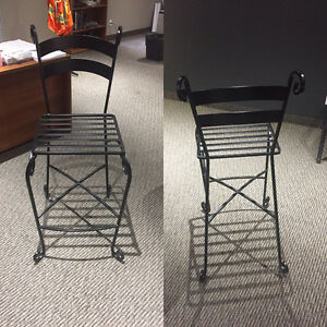 3 Wrought Iron Bar Stools with Back Rest