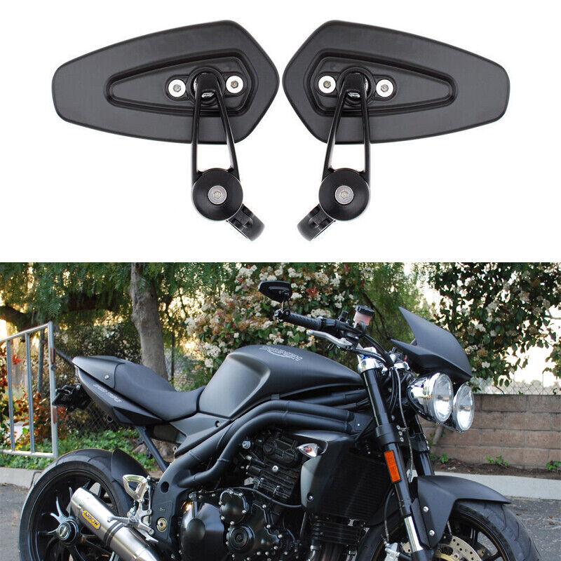 "Black Motorcycle Handlebar 7//8/"" Bar End Side Mirrors Motorbike For Triumph Honda"