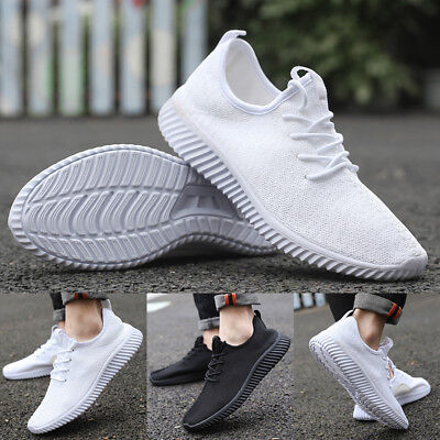 Men Casual Sports Shoes Running Simple Sneakers Gym Fitness Plain Boost - Simple Mens Shoes