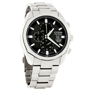 Citizen Eco-Drive Mens Black Dial Titanium Chronograph Watch CA0020-56E