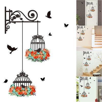 Hot Birdcage Vine Flower Bird Wall Decal Sticker Home Vinyl Decor Mural Art