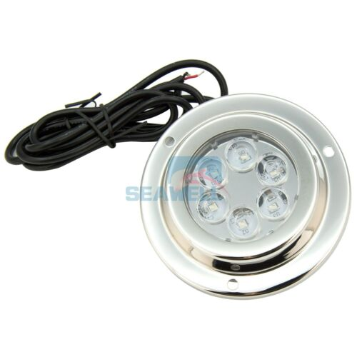 6*2W DC LED Boat Marine Underwater Light Blue Surface Mount Stainless IP68