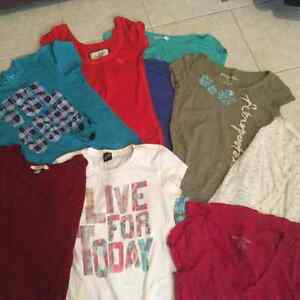 7 t-shirts, volcom, abercrombie, forever 21...