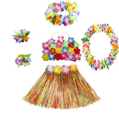 Hula Grass Skirts (US Kids Hawaiian Hula Grass Skirt Lei Headband Wristband Fancy Dance Dress)