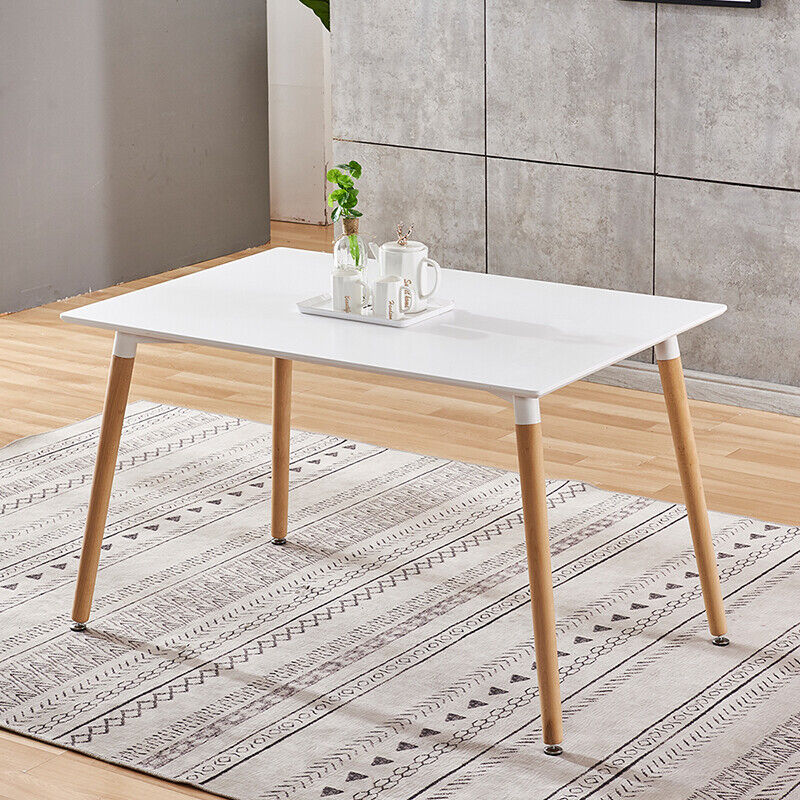 Details about Modern White Dining Table Wood Legs Rectangle Dining Room  Kitchen Home Furniture