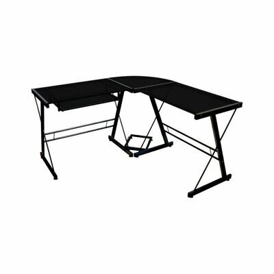 Pemberly Row Corner L Shaped Glass Top Computer Desk in Black for sale  Sterling