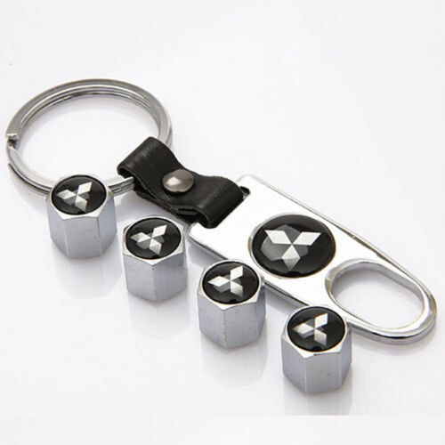 Car Tire Valve Dust Stems Air Caps Cover Emblem Keychain For Mitsubishi PAJERO