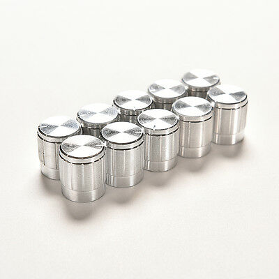 (10X Aluminum Knob Rotary Switch Potentiometer Volume Control Pointer Hole 6mm HS)