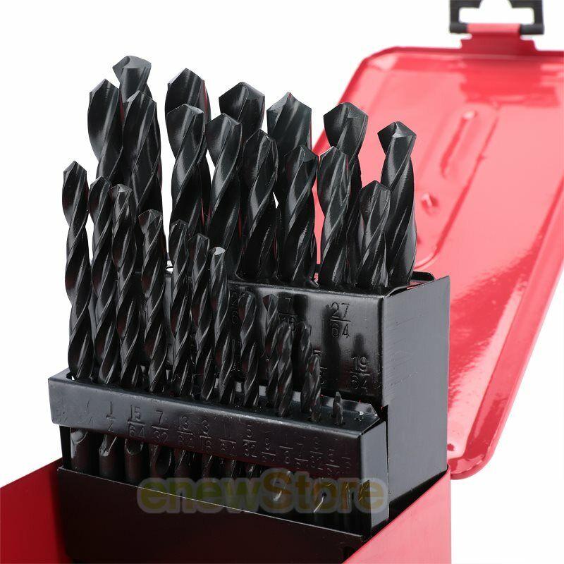 29pc Drill Bit Set High Speed Bits Steel Drill Bits w// Metal Index Box New