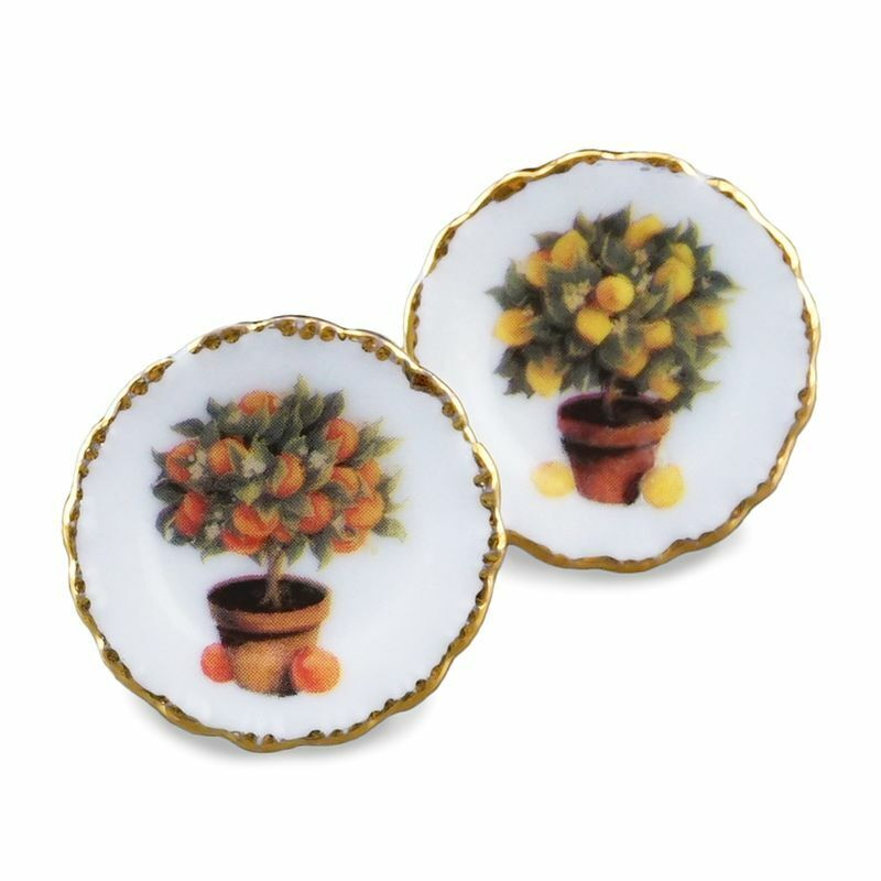 Dollhouse Miniature Orange & Lemon Wall Plates by Reutter Porcelain