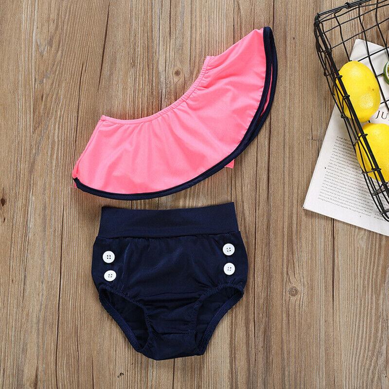 Kinder Mädchen Baby Badeanzug Bikini Set Bademode Schwimmanzug Schulterfrei 116