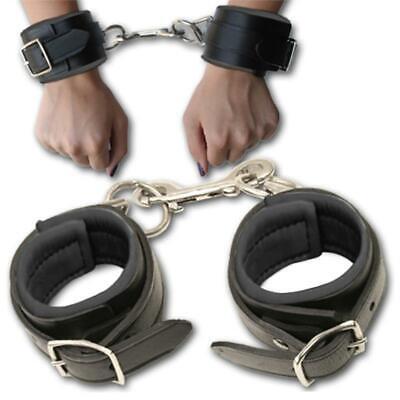 Handcuffs Black Leather Wrist Ankle Cuffs