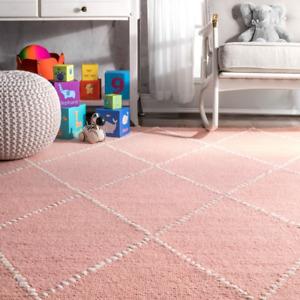 1-Tapis de couleur rose  bébé en laine & Autre modèles et grande