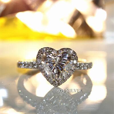 Romantic Love Infinity 925 Silver Heart Ring White Sapphire CZ Bridal Best