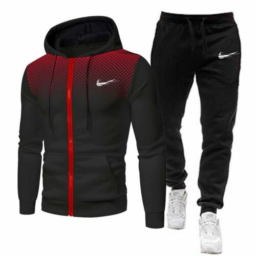 2 Pieces Sets Tracksuit Men Brand Autumn Winter Hooded Sweatshirt +Drawstring