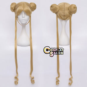 Sailor Moon Princess Usagi Tsukino 100cm Curly Flaxen Gold Cosplay Wig+Ponytails