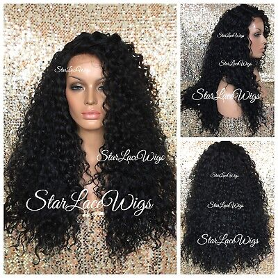 Layer Curly Synthetic Wig (Synthetic Lace Front Wig Long Curly Layers Side Part Off Black #1b Heat Safe)