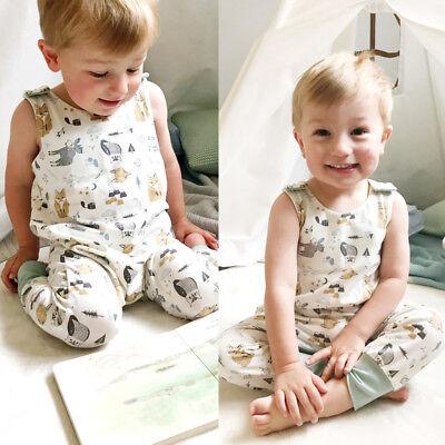 Toddler Kids Baby Boy Girl Cotton Romper Harem Playsuit Outfit Clothes Summer UK