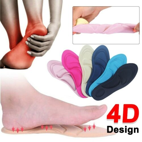 1 Pair Comfortable 4D Sponge Soft Insoles Arch Support Cutting Shoe Pad Washable